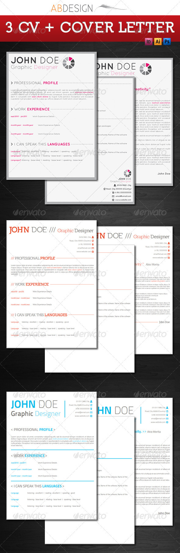 GraphicRiver 3 set resume & cover letter 151652