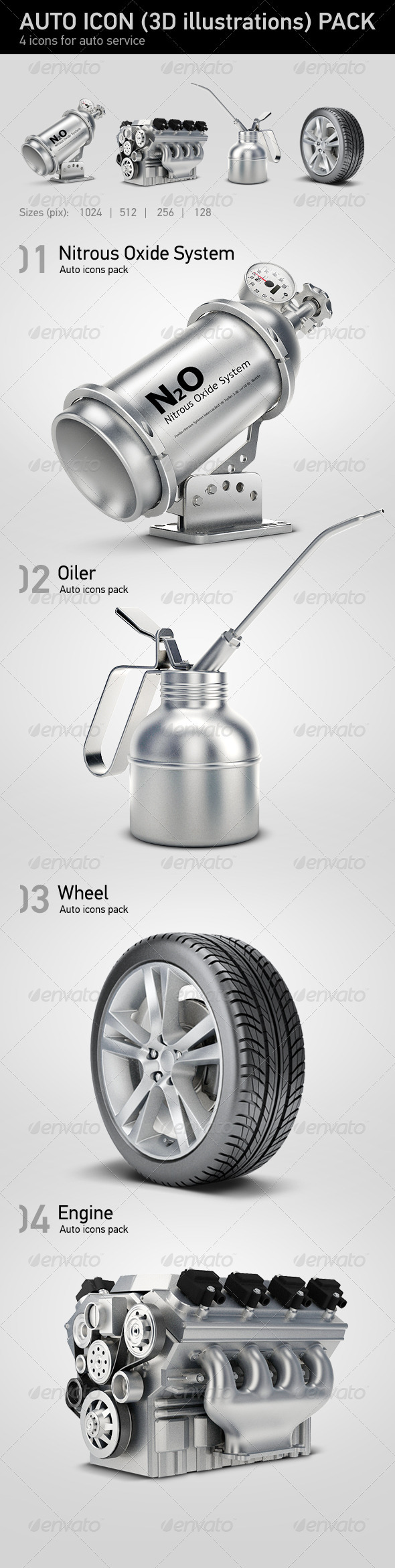 Graphic River 3D-auto-icons.jpg Icons -  Objects 549318