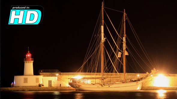 VideoHive Old Ship & Lighthouse Night Time Lapse 5341114