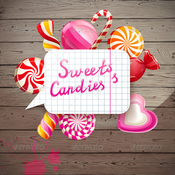 GraphicRiver Background with Sweets and Candies 5341477
