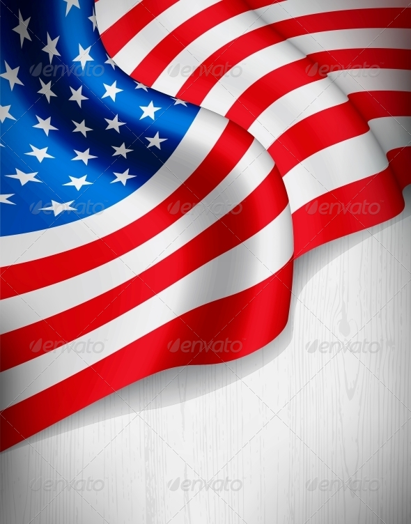 American Flag on Grey Wood Background
