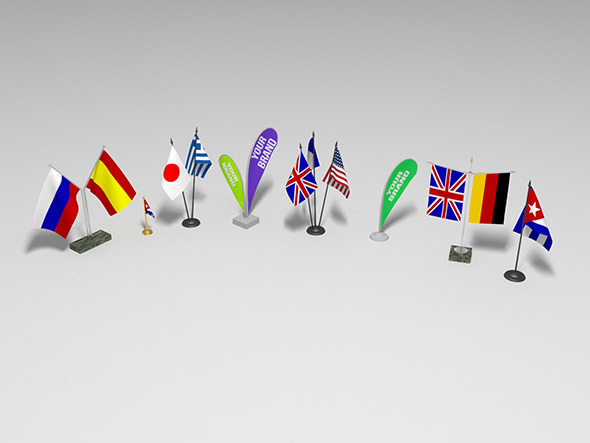 Table decorations flags set - 3DOcean Item for Sale