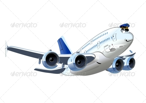 GraphicRiver Vector Cartoon Airliner 5342824