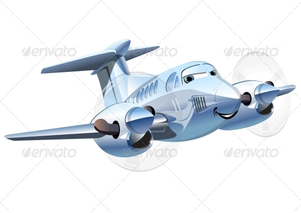 GraphicRiver Vector Cartoon Airplane 5342827