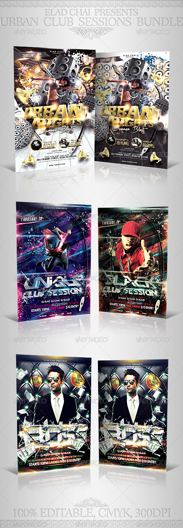 GraphicRiver Urban Club Sessions Party Bundle 5343092