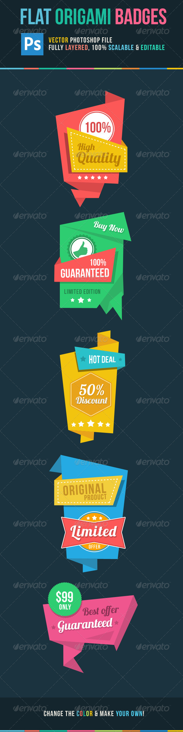 GraphicRiver Flat Origami Badge 5307830