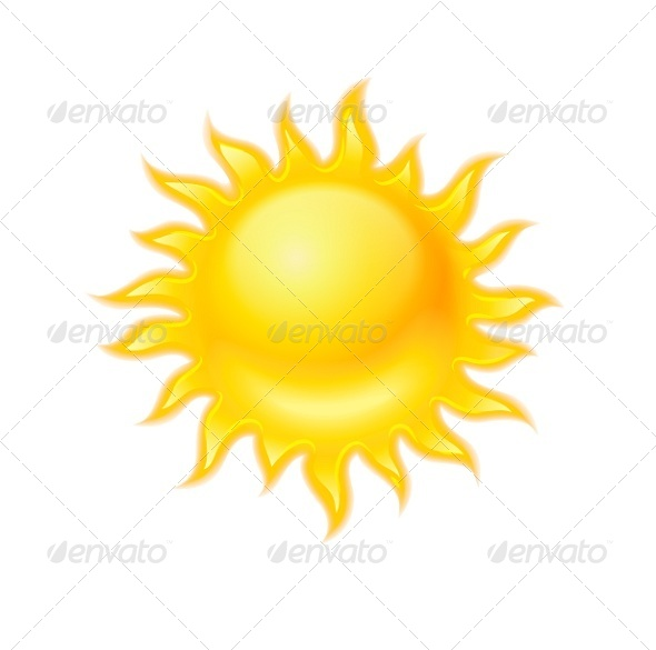 GraphicRiver Hot Yellow Sun Icon Isolated 5343935