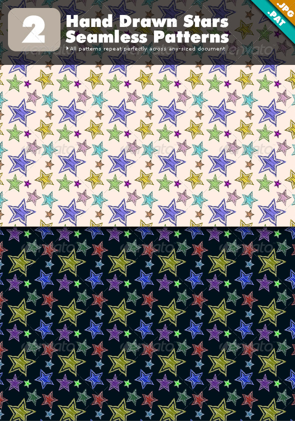 GraphicRiver Hand Drawn Stars Seamless Patterns 5344935