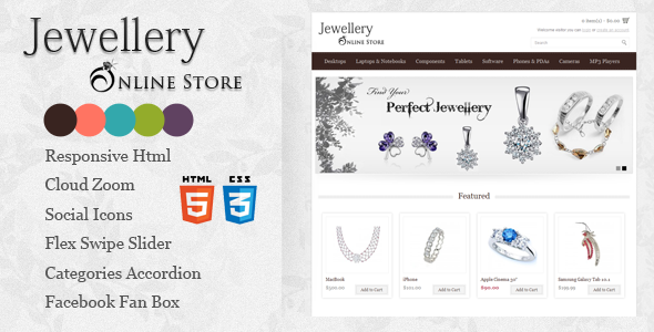 Responsive Jewellery Online Store Html5 template