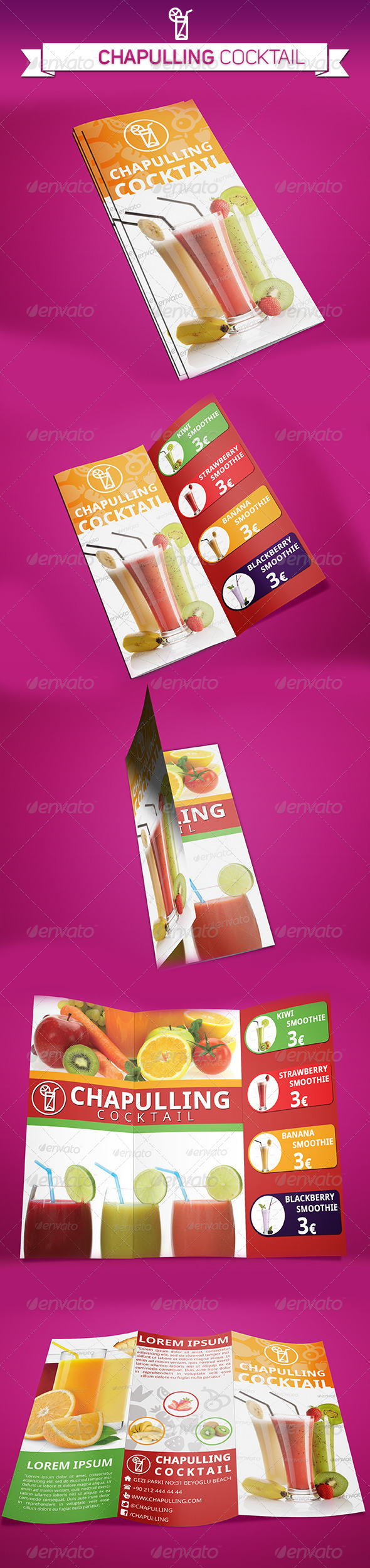 GraphicRiver Cocktail Trifold Brochure 5345414