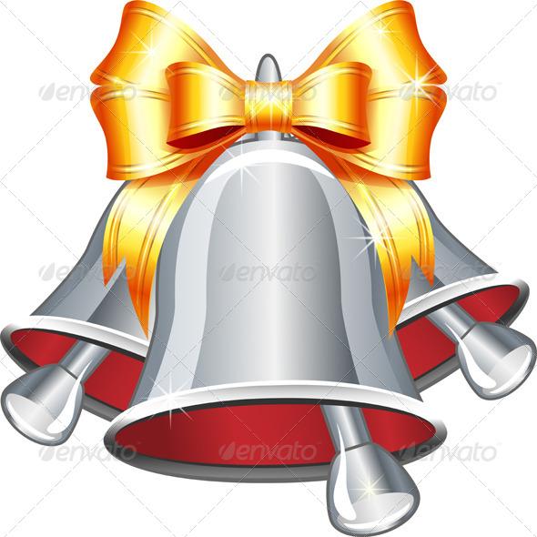 Silver Jingle Bells with Gold Bow - Christmas Seasons/Holidays