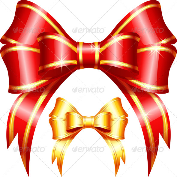 Red and Gold Gift Bow and Ribbon - Halloween Seasons/Holidays