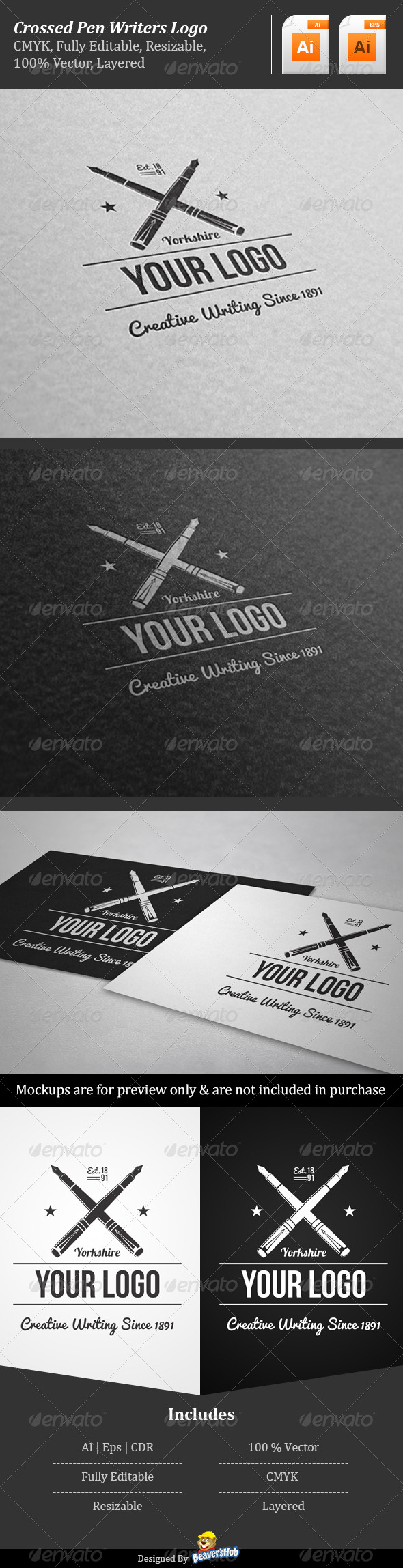 Crossed Pen Writers Logo - Objects Logo Templates
