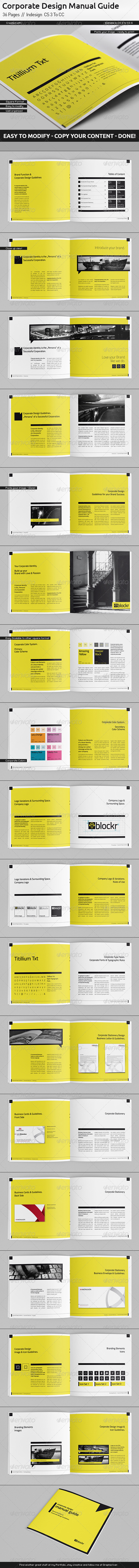 GraphicRiver Corporate Design Manual Guide Square 36 Pages 5346672