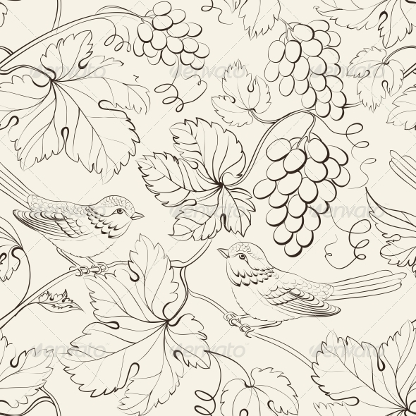 Bird and Grape Seamless Pattern