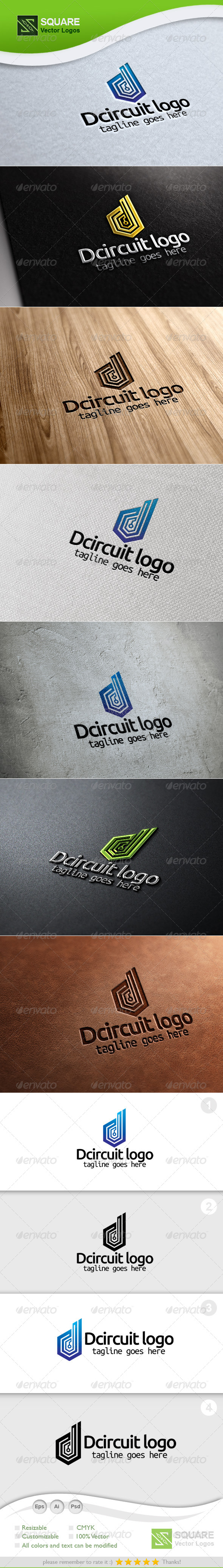 D, Circuit Vector Logo Template - Letters Logo Templates