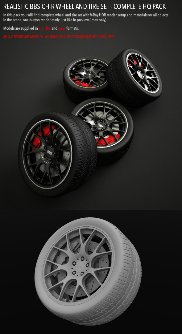 Realistic BBS CH-R Wheel and Tire Set HQ - 3DOcean Item for Sale