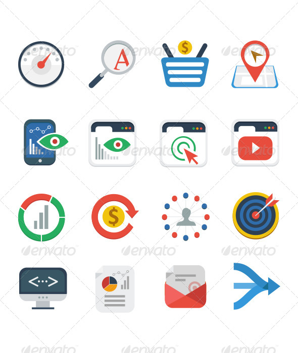 GraphicRiver Flat SEO Services Icon Set 5347474