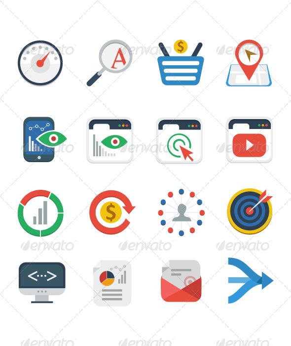 Flat SEO Services Icon Set