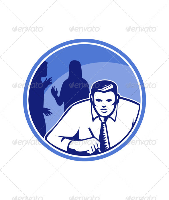 GraphicRiver Office Worker Businessman Writing Woodcut 5347576