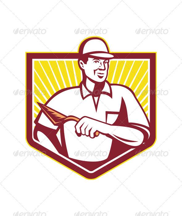 GraphicRiver Tiler Plasterer Mason Masonry Worker Retro 5347592