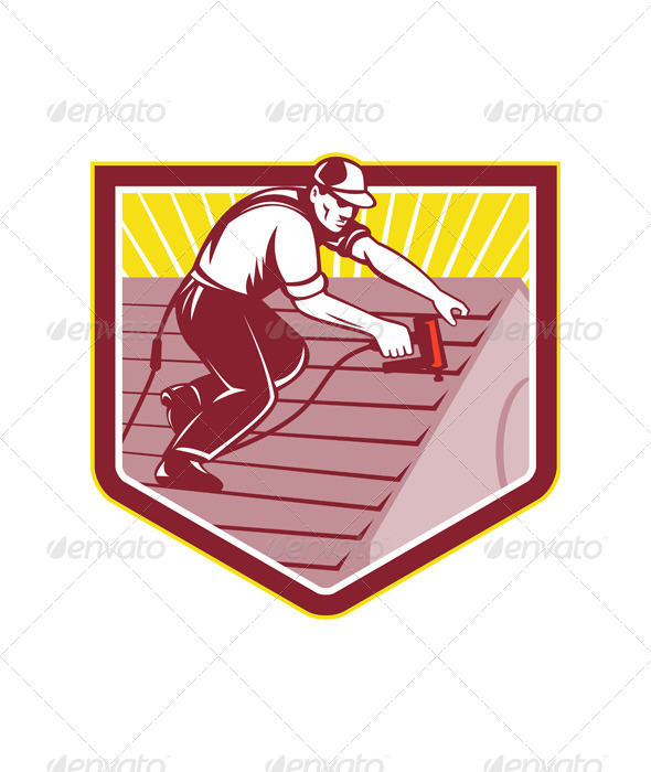 GraphicRiver Roofer Roofing Worker Retro 5347597