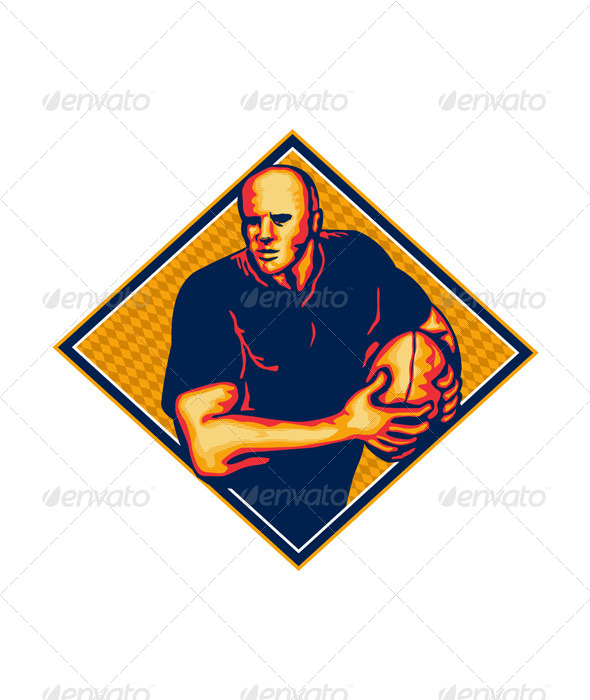 GraphicRiver Rugby Player Running Ball Retro 5347635