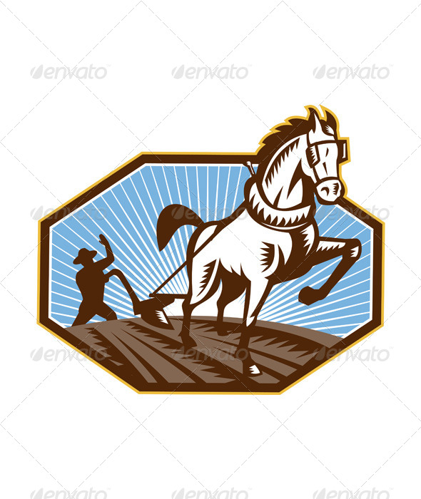 GraphicRiver Farmer and Horse Plowing Farm Retro 5348371