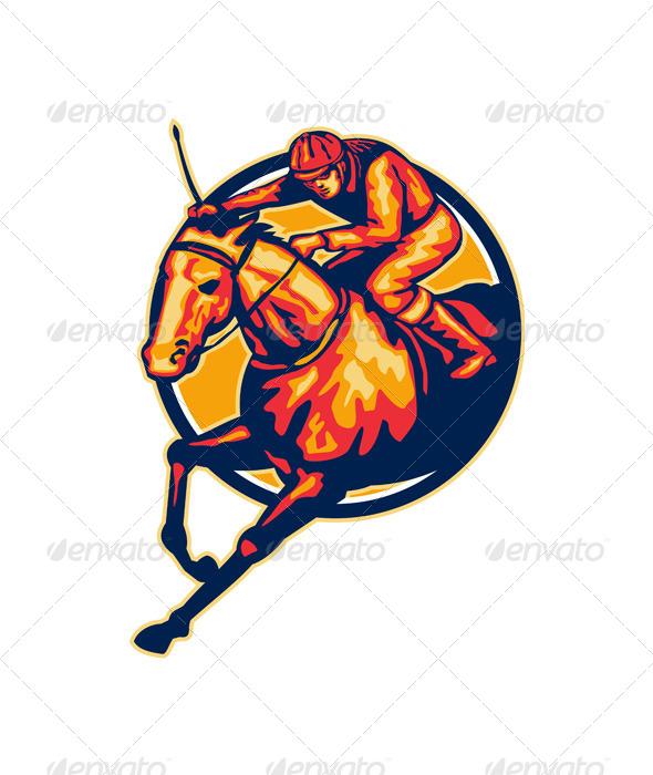 GraphicRiver Horse and Jockey Racing Retro 5348385