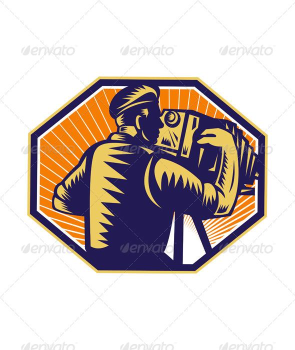 GraphicRiver Photographer Shooting Vintage Camera Retro 5348401