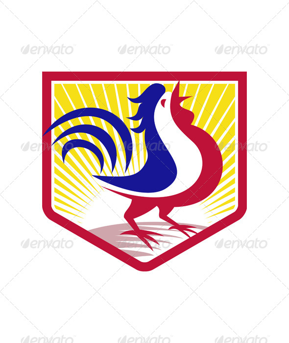 GraphicRiver Rooster Cockerel Crowing Crest 5348407