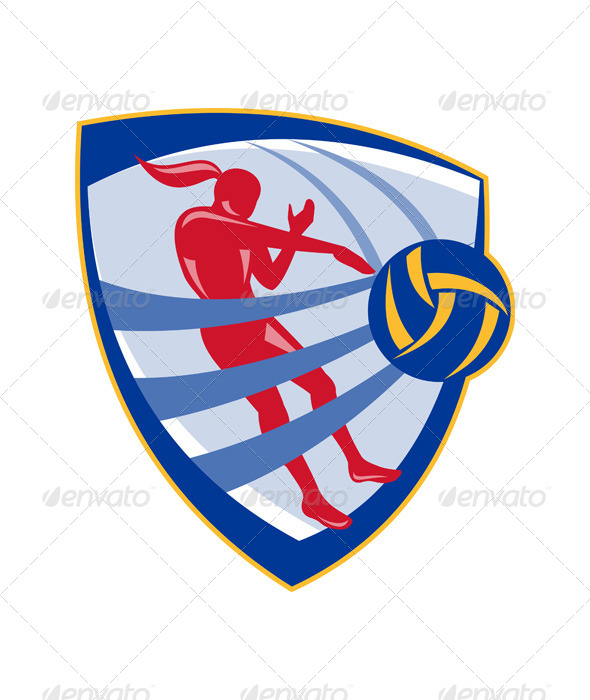 GraphicRiver Volleyball Player Spiking Ball Crest 5348412