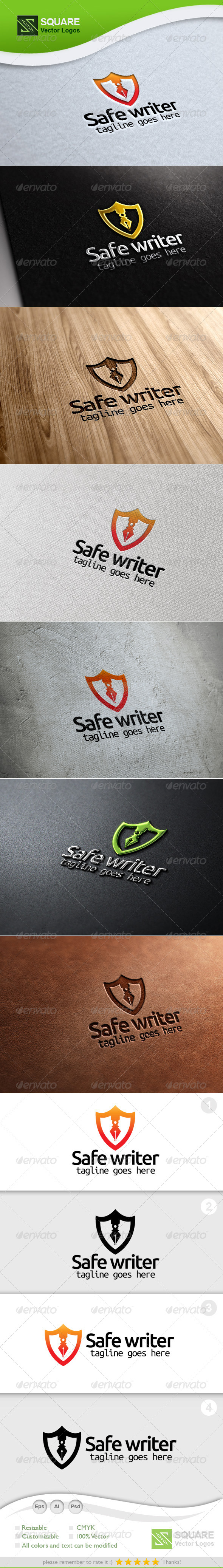 Shield, Writer Vector Logo Template - Symbols Logo Templates