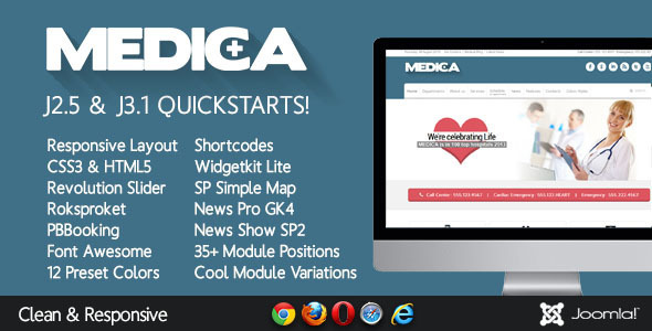 Image of Medica - Clean, Responsive, Medical Joomla Theme