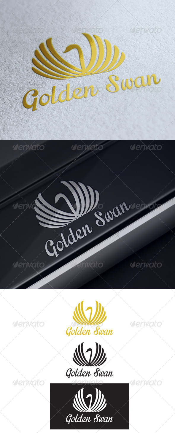 GraphicRiver Golden Swan Logo Template 5348594