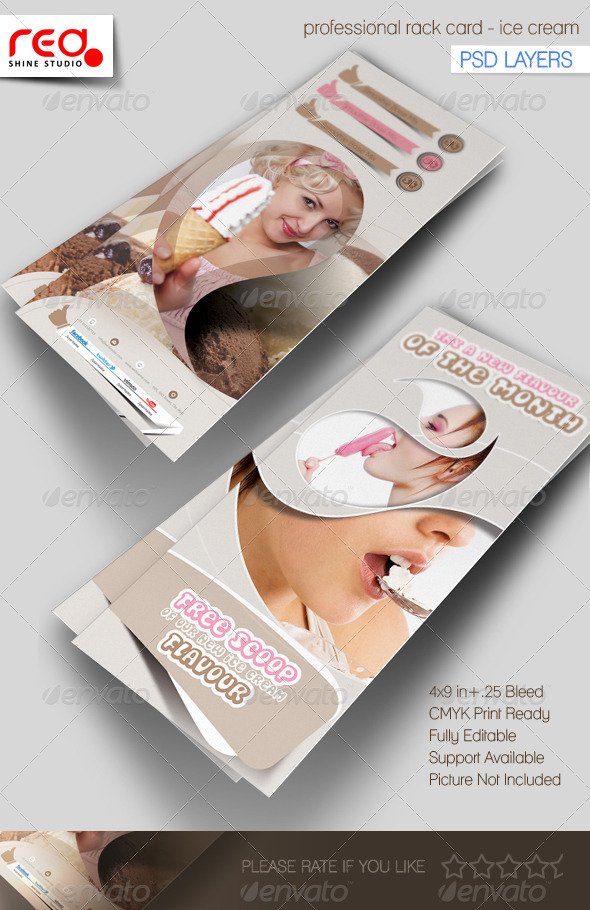 Ice cream Shop Rack Card Template - Miscellaneous Print Templates