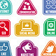 Stickers with Social Media Icons - GraphicRiver Item for Sale