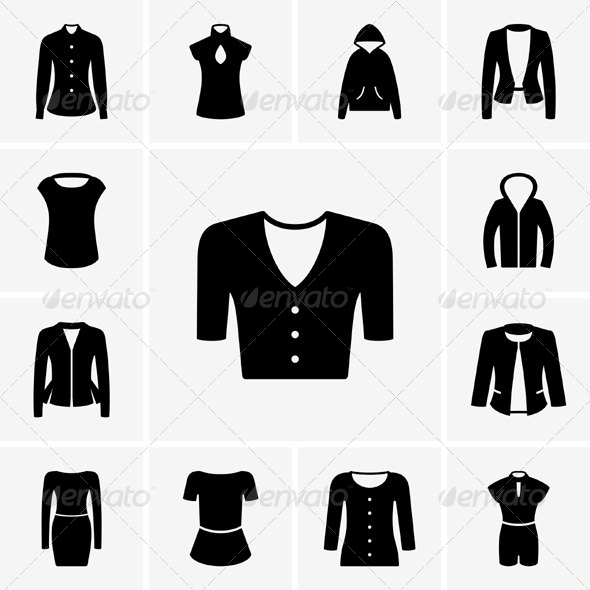 GraphicRiver Woman Clothes Icons 5350688