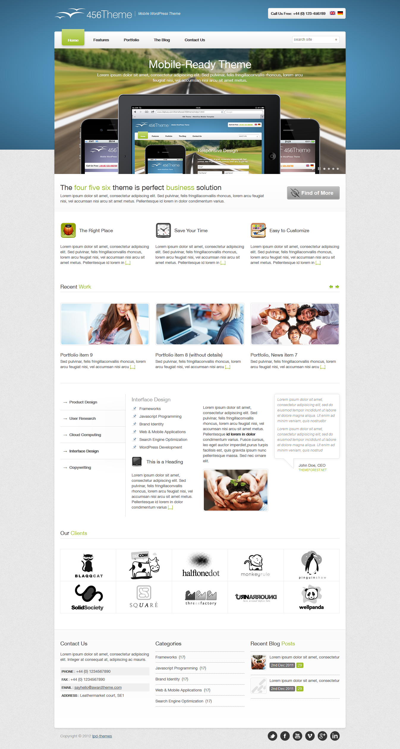 456Theme Premium Responsive Wordpress Theme - front page