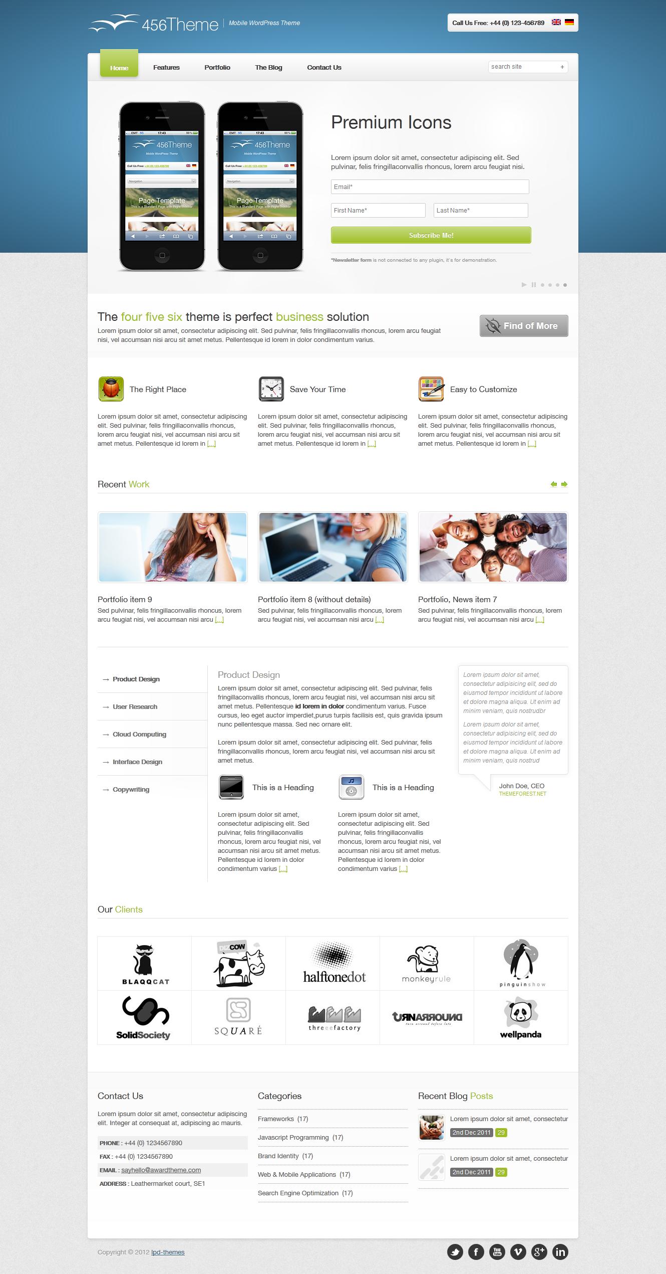 456Theme Premium Responsive Wordpress Theme - front page 2