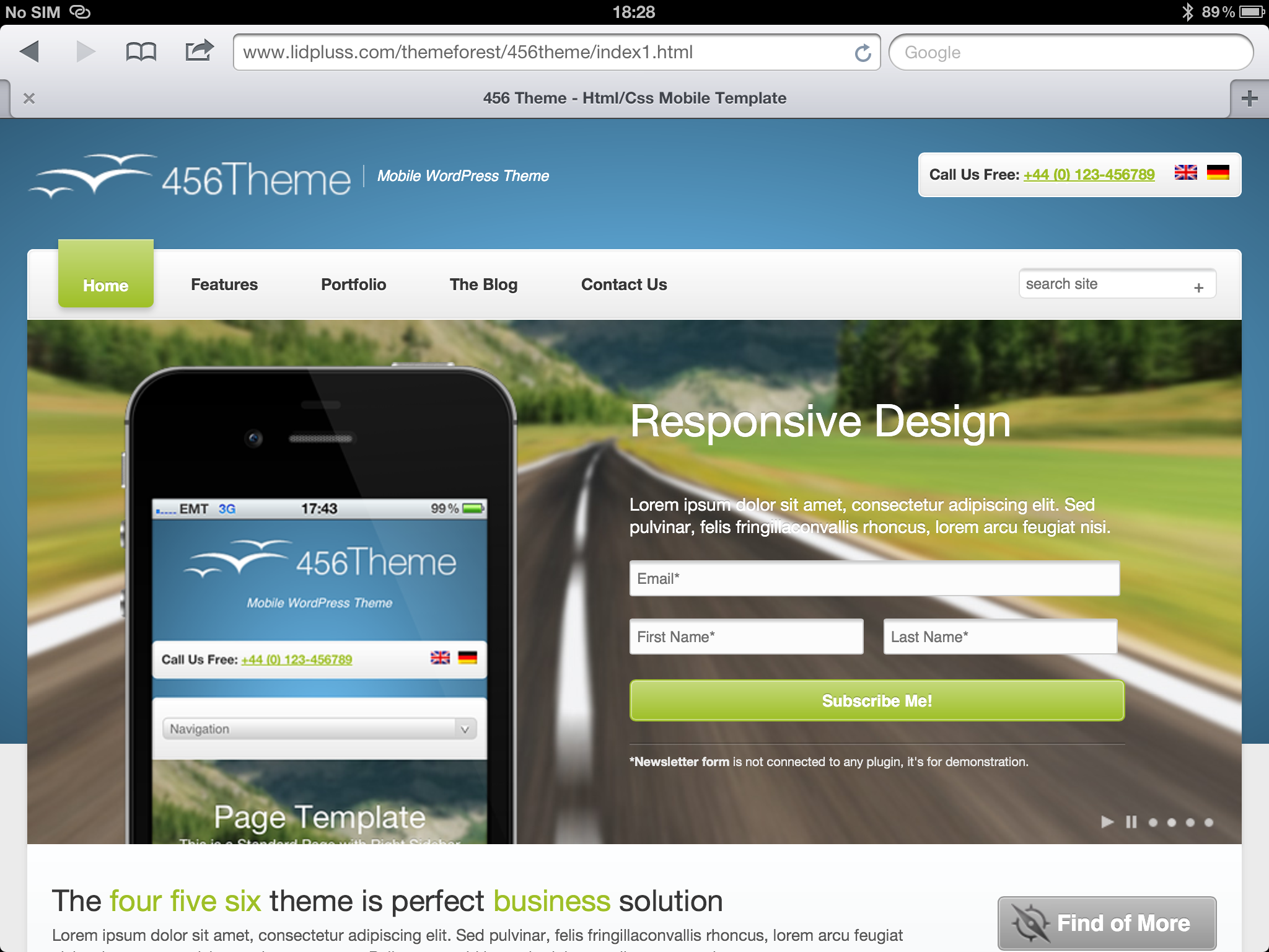 456Theme Premium Responsive Wordpress Theme - ipad front page