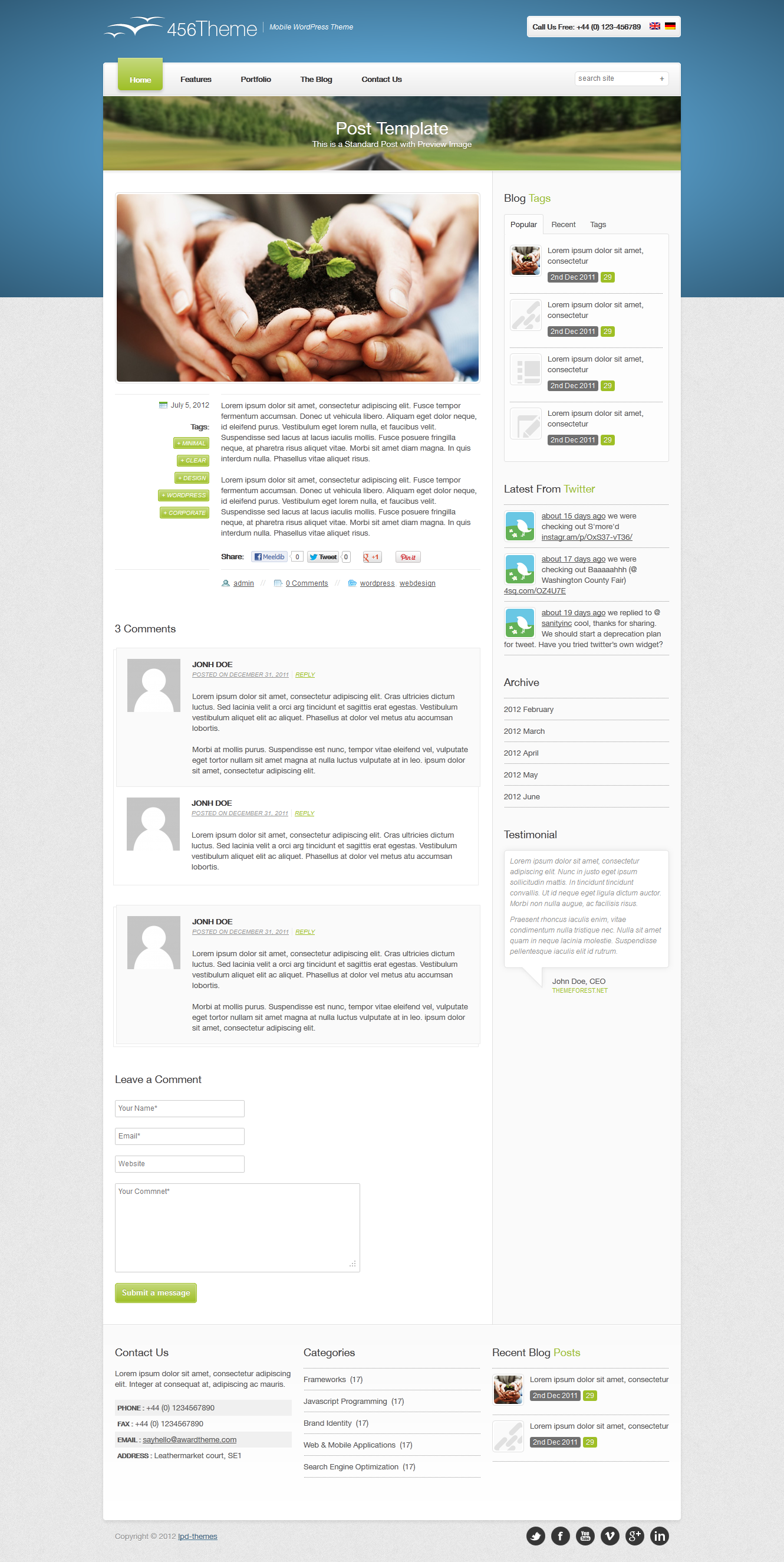 456Theme Premium Responsive Wordpress Theme - post template