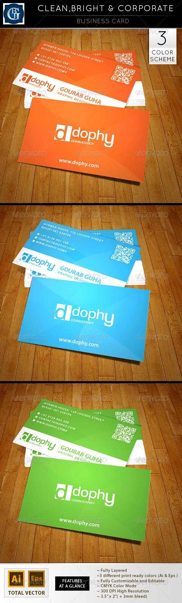 Business Card - Clean, Bright & Corporate - Corporate Business Cards