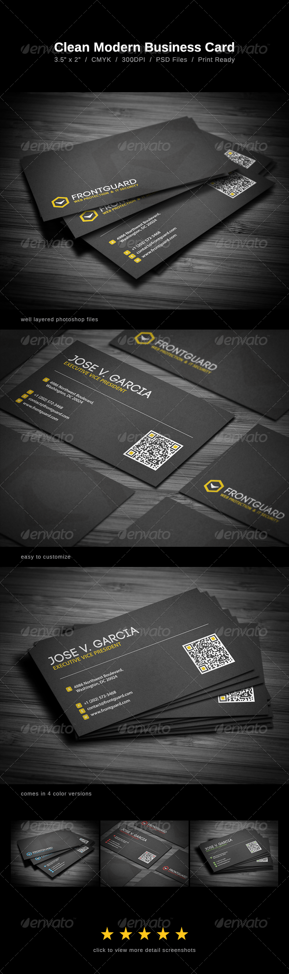 Clean Modern Business Card - Corporate Business Cards