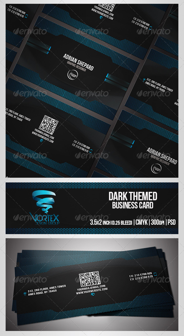 GraphicRiver Dark Themed Business Card 5301131