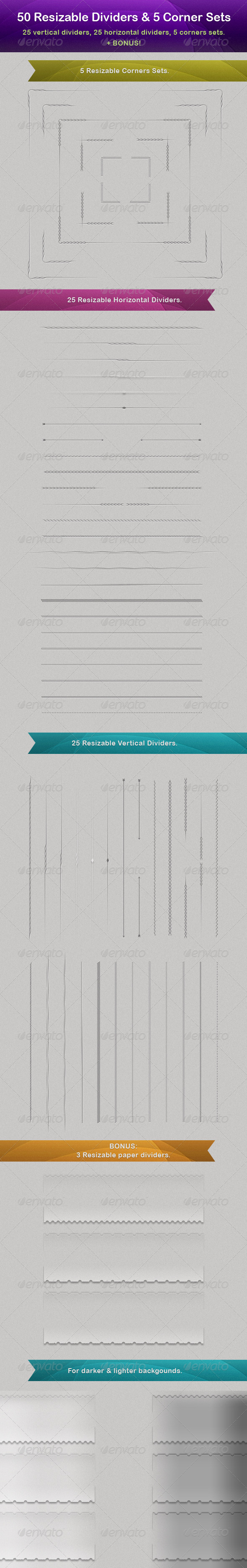 GraphicRiver 50 Vector Resizable Dividers & 5 Corner Sets 549873