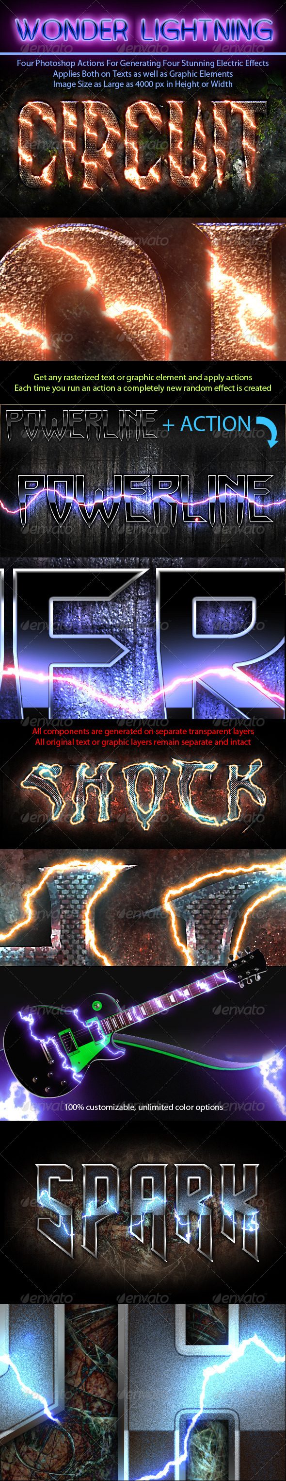 Photoshop Electric Effect Action Pack - Text Effects Actions