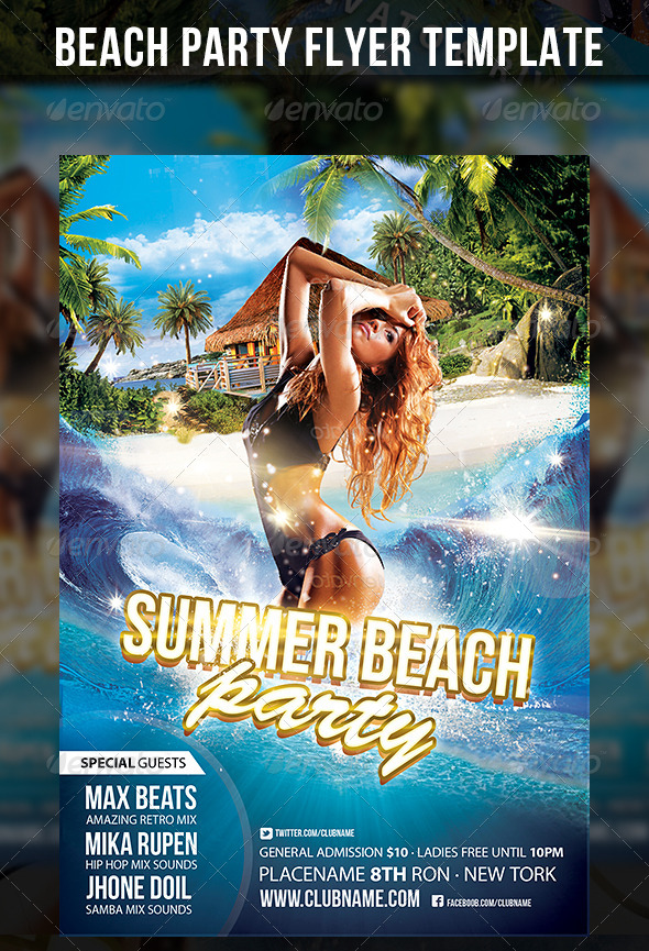 GraphicRiver Summer Beach Party Flyer Template 5351786