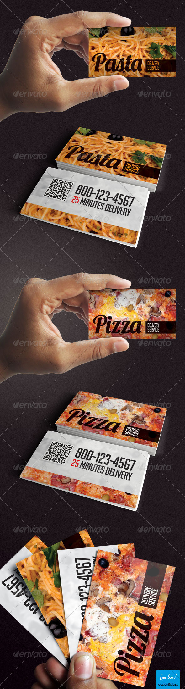 GraphicRiver Pizza & Pasta Delivery Business Card 4057457