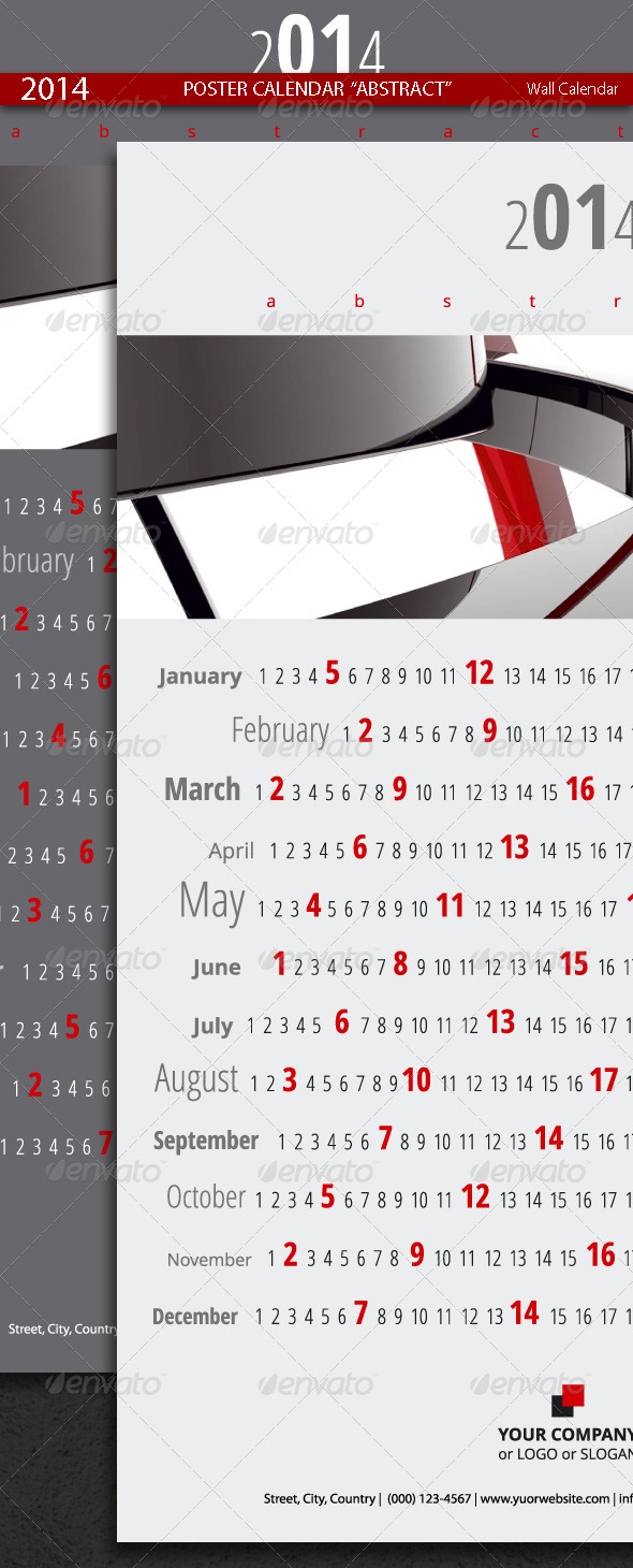 GraphicRiver Poster Calendar Abstract Template 2014 5352582